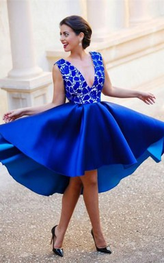 Delicate Royal Blue Lace Short Cocktail Dress 2016 Deep V-neck A-line