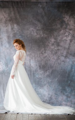 Romantic Long Sleeve A-Line Organza Wedding Dress With Chapel Train