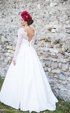 Bateau Neck Long Sleeve Satin Wedding Dress With Sweep Train