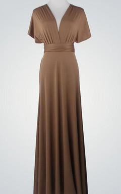 Chiffon Floor-Length Dress With Convertible Design