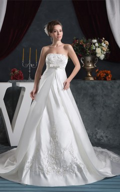 Strapless Satin A-Line Gown with Embroideries and Bow