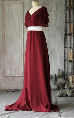 Butterfly Sleeve Chiffon Long Dress With White Beaded Belt