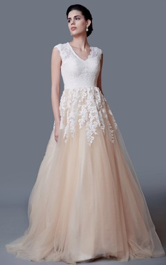 Modest A-line Lace Long Wedding Dress with Cap Sleeves