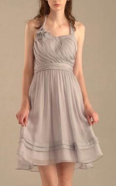 A-line Short Knee-length Halter Chiffon Dress With Pleats