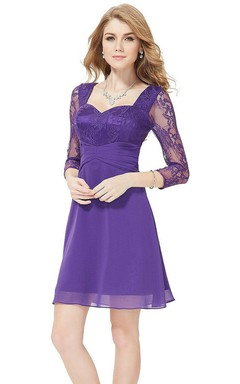 3/4 Sleeved Short Dress With Lace Bodice