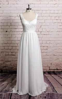 V Shape Lace-Neckline Sheer Lace Back A-Line Style Chiffon Wedding Dress With Waistband