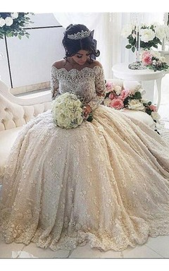 Beautiful Lace Long Sleeve Princess Wedding Dresses 2016 Ball Gown With Appliques