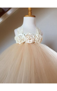 Sleeveless Satin Rosette Bodice Tutu Dress With Pleats and Lace Straps