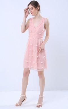 Surplice Neck Sleeveless Short Dress