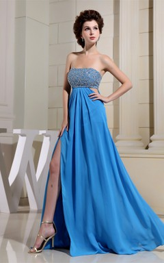 Strapless Front-Split Pleated Dress with Bowknot and Gemmed Top