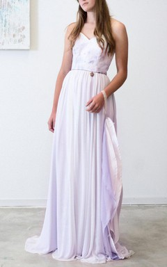 Dani Lilac Wedding Bohemian Princess Wedding With Hand Painted Bodice Sweet Heart Neckline Dress