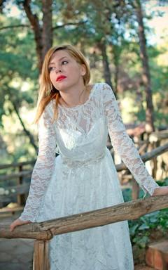 Bateau Illusion Sleeve Long Lace Wedding Dress With Sash And Low-V Back
