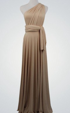 One-shoulder Infinity Jersey Long Bridesmaid Dress