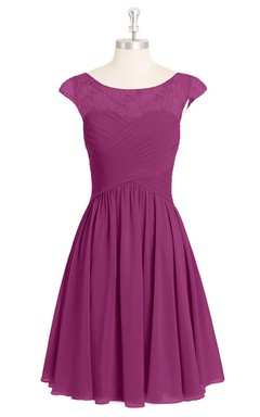 Cap-Sleeved Short A-Line Chiffon Dress With Lace Top and Crisscross Ruching