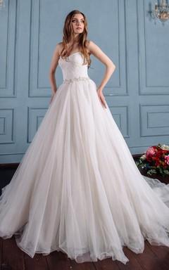 Satin Lace Lace-Up Corset Back Wedding Dress
