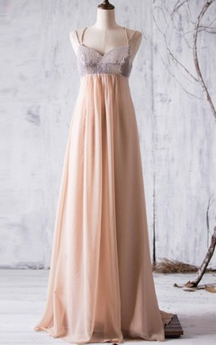 Empire Spaghetti Strapped Empire Backless Chiffon Dress With Sequins