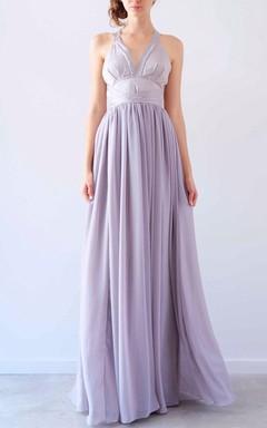 Beautiful Mocha Gown Halter Neck Gown Dress