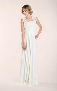 Lace Lay Sleeveless Ivory Floor-Length Dress With Pleats