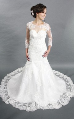 Jewel Neck Long Sleeve Mermaid Lace Wedding Dress With See Through Back
