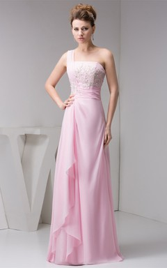 One-Shoulder Chiffon Draped Gown with Appliques and Beading