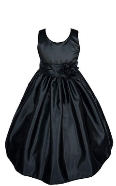 Sleeveless Ruffled Taffeta Dress With Flower Waist