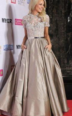 Short Sleeved A-line Taffeta Dress with Pockets