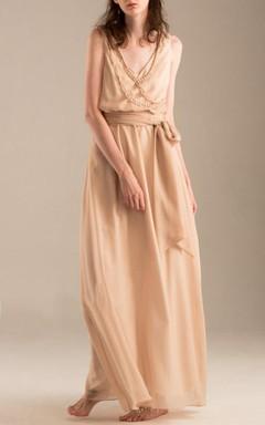 Floor-length V-neck Chiffon Dress With Beading