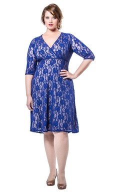 Half-sleeved V-neck Knee-length Lace Dress