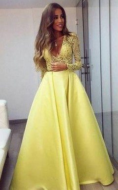 Stunning Yellow Long Sleeve 2016 Prom Dress V-Neck Lace