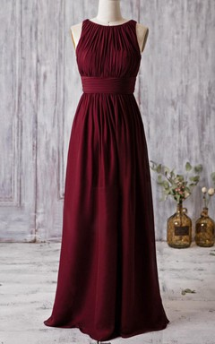 Jeweled-neck Floor-length Dress With Ruching and Sash