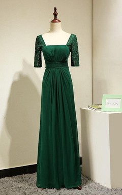Emerald Green Lace Short Sleeves Formal Gown