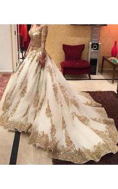 Glamorous Lace Appliques Beadings Wedding Dress 2016 Long Sleeve Long Train