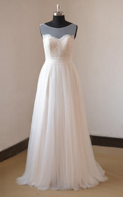 Romantic Illusion Boat Neck A-Line Tulle Wedding Dress With Lace Bodice
