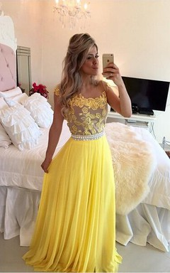 Delicate Yellow Chiffon Pearls Prom Dress 2016 Lace Appliques