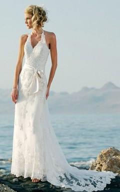 Sheath/Column Sleeveless Halter Court Train Lace Wedding Dresses