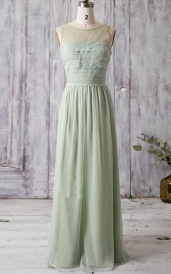 Long Chiffon&Tulle&Lace Dress With Ruffles&Illusion