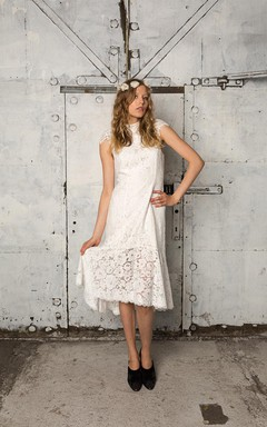 Dropped Waist Lace Dress With High Neck Silk Collar