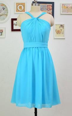 A-line Short Knee-length Halter Chiffon Dress