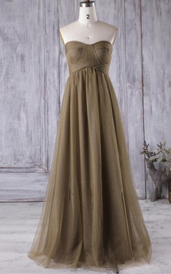A-line Empire Long Strapped Empire Tulle Dress