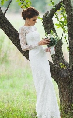 Romantic Fitted Style Long Lace Sleeves High Neck Wedding Dress