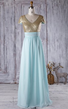Floor-length V-neck Cap Sleeve Chiffon Dress With Sequins