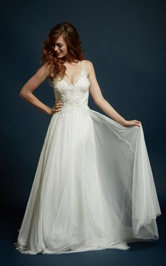 Strapped Tulle Lace Charmeuse Dress With Beading Embroideries Illusion