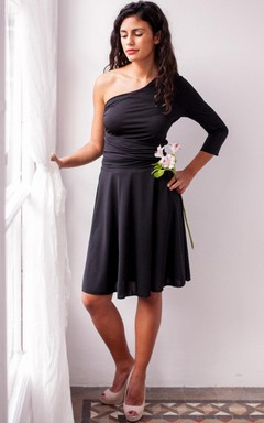Short One-shoulder Long Sleeve Jersey&Satin Dress