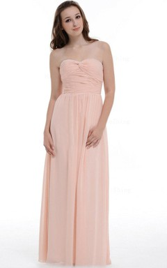 A-line Floor-length Sweetheart Chiffon Dress With Ruffles
