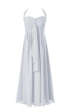 Sleeveless Long Layered Chiffon Dress With Drapped Applique