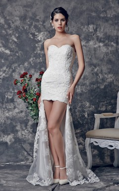High low style bridals dresses hi lo wedding gowns june for Hi lo hemline wedding dresses