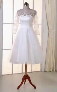Tea-Length Tulle Lace Satin Weddig Dress