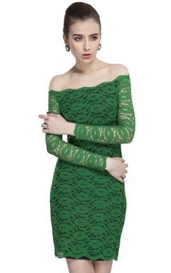Sexy Long-sleeved Off-shoulder Lace Sheath Dress