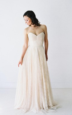 Long Sweetheart A-Line Lace Wedding Dress With Ruching and Pleats