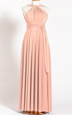 Tea-length Long Jersey&Satin Dress